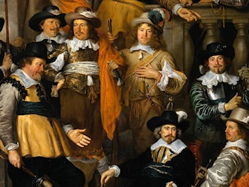The Company of Cpt. Aelbert Bas and Lt. Lucas Conijn [detail #] by Govert Teunisz Flinck